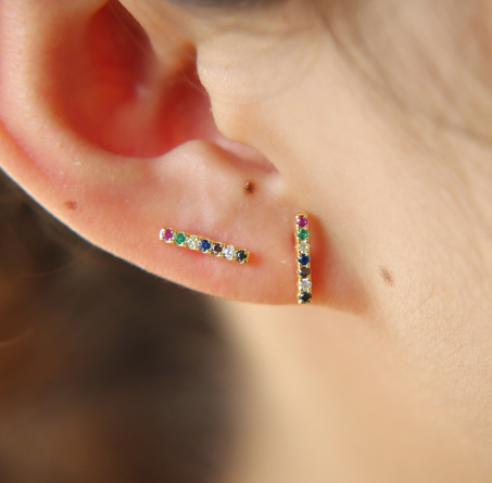 Cz Rainbow Mini Bar Earring