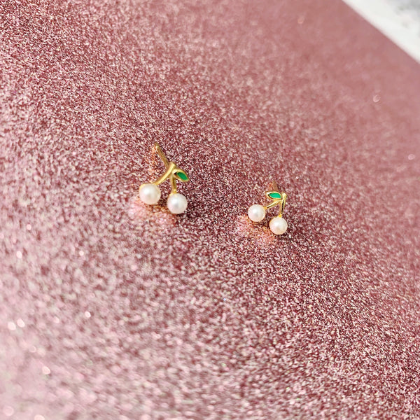 Cherry Pearl Stud Earrings