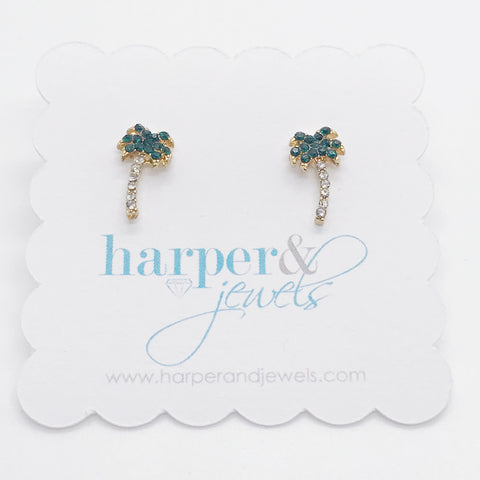Palm Tree Dazzle Stud Earrings