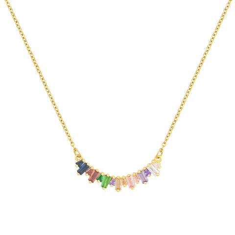 stainless steel curved rainbow bar necklace