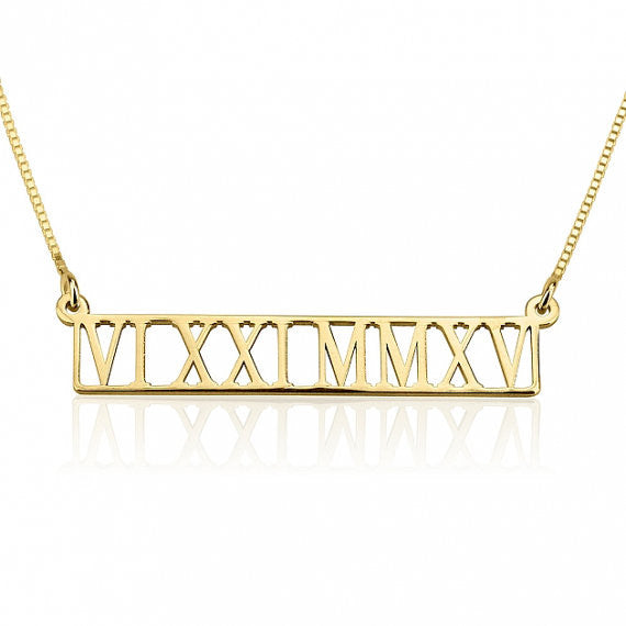 Hollow Roman Numeral Bar Necklace