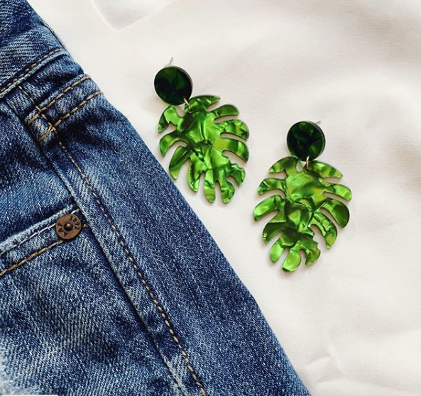 Acrylic Drop Palm Leaf Earrings