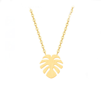 Stainless Steel Dainty Palm Leaf Necklace
