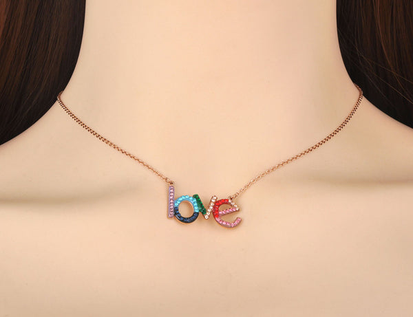 rainbow love cz necklace on