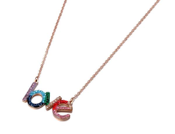 Stainless Steel Rainbow CZ  LOVE Necklace