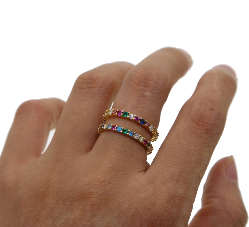 Cz Rainbow Eternity Ring