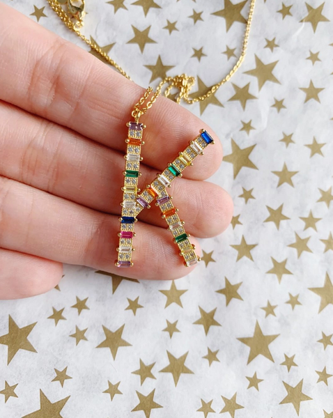Large Rainbow CZ Initial Necklace