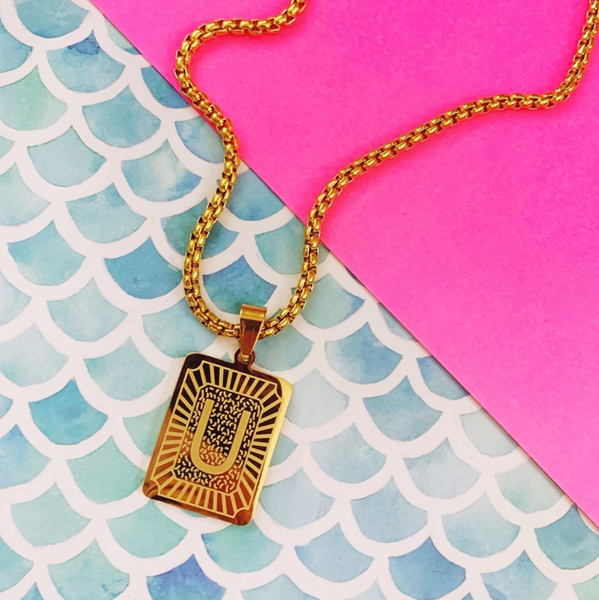 Rectangle Medallion Letter Necklace