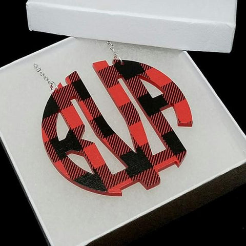 Patterned Acrylic Block Monogram Necklace