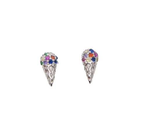 Rainbow Ice Cream Stud Earrings - Sterling