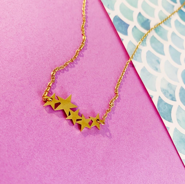 Gold Star Cluster Necklace