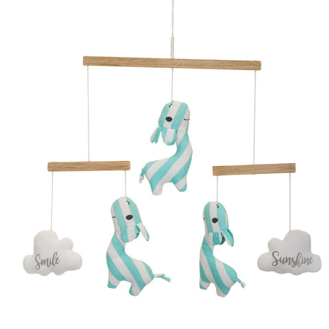 Blue Giraffe With Clouds Cot Mobile