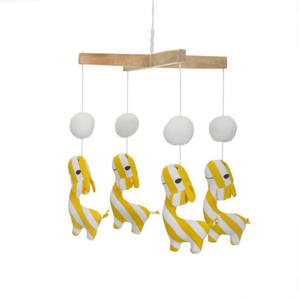 Yellow Giraffe With Pom Poms Cot Mobile