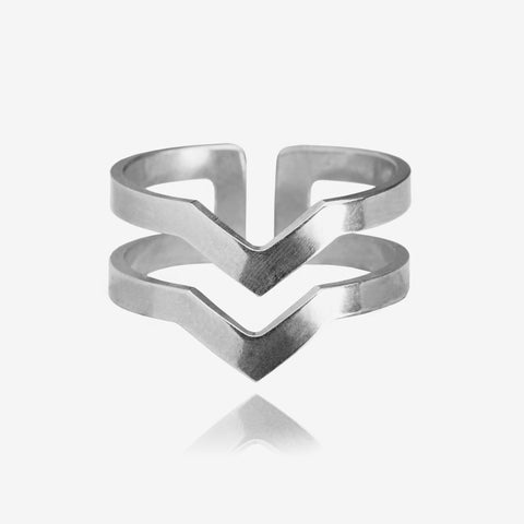 Graphic Ring Lines Silver