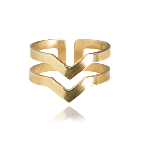 Graphic Ring Lines Gold