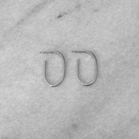 Link Hoops Earring Medium Silver