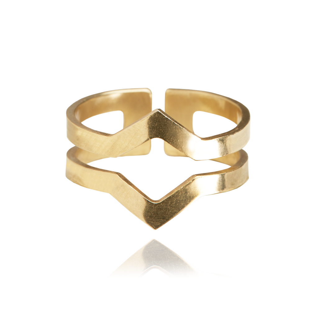 Graphic Ring Double Gold