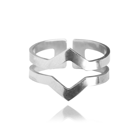 Graphic Ring Double Silver