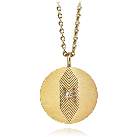 Graphic Necklace Square Zirconia Gold