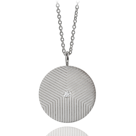 Graphic Necklace Lines Zirconia Silver