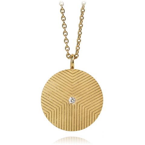 Graphic Necklace Lines Zirconia Gold