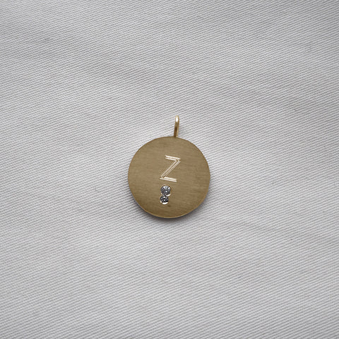 Letter Coin Classic Two Zirconia Gold