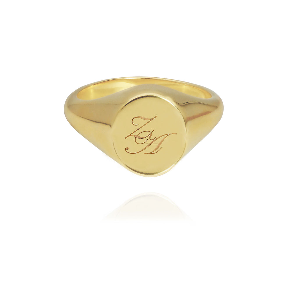 Initial Signet Ring Oval Goldplated