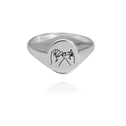 Pinky Love Signetring Silver