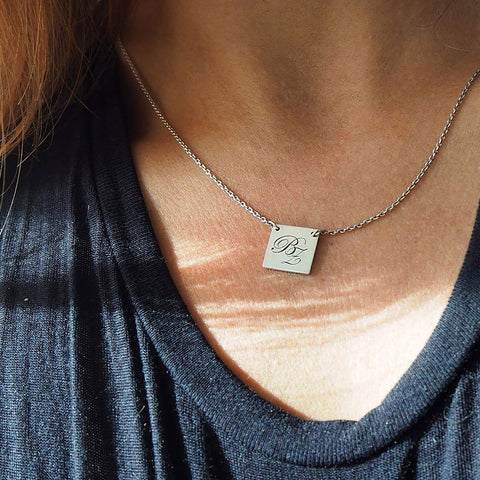 Initial Square Necklace Silver