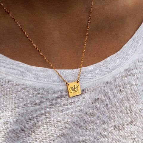 Initial Square Necklace Gold