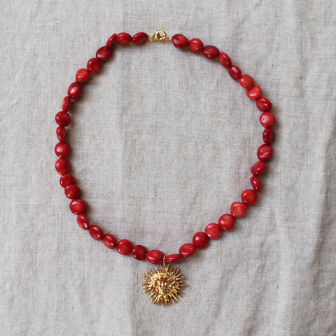 Hera Coral Sun Necklace Gold