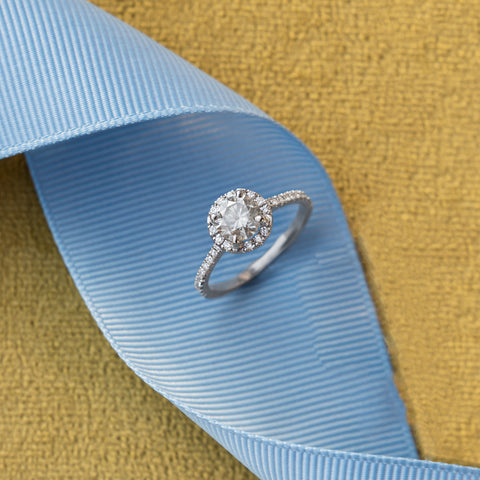 Louille Halo Diamond White Gold Ring