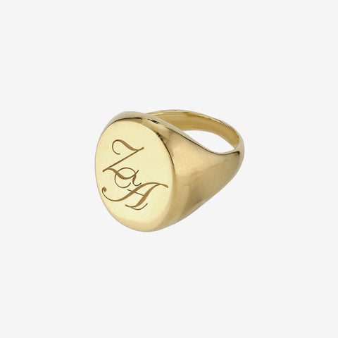 Initial Signet Ring Big Oval Goldplated