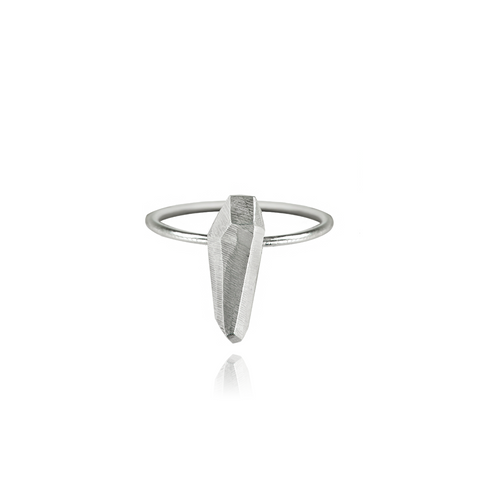 Diamond Tooth Ring Large Silver