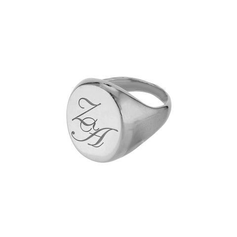 Initial Signet Ring Big Oval Silver