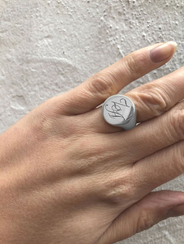 Initial Signet Ring Round Silver
