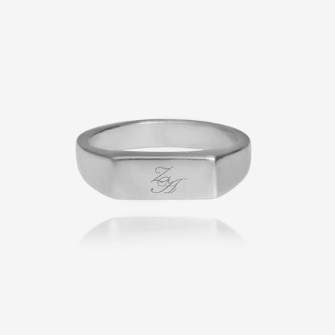 Initial Signet Ring Square Silver