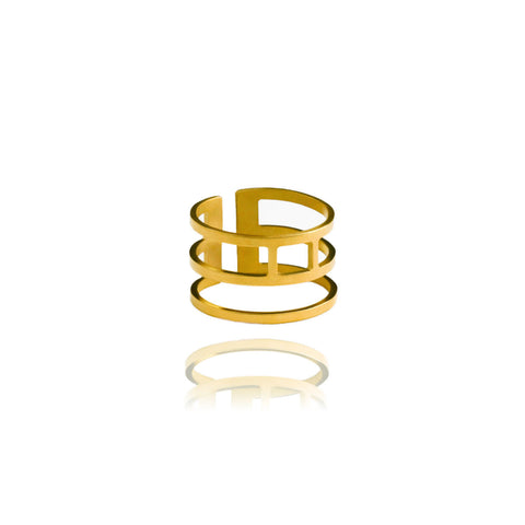 Graphic Ring Triple Gold