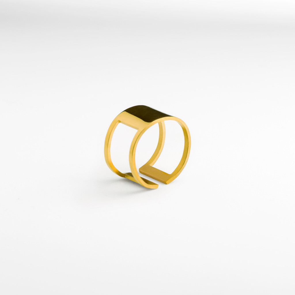 Graphic Ring Square Gold