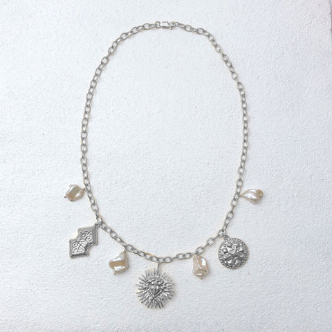 Hera Sun Charm Necklace Silver