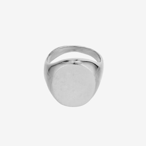 Oval Big Signet Ring Silver