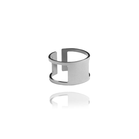 Graphic Ring Square Silver