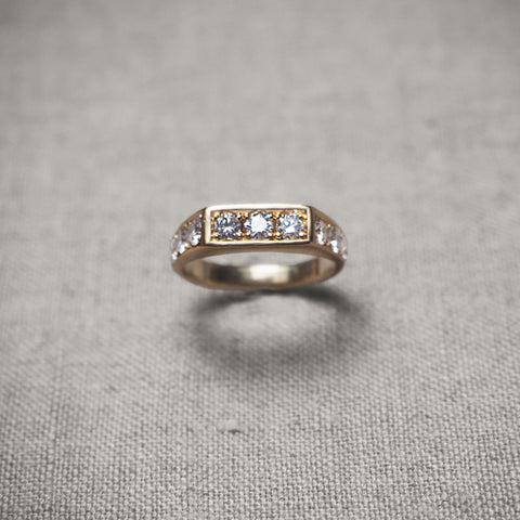 Small Square Diamond Gold Signet Ring