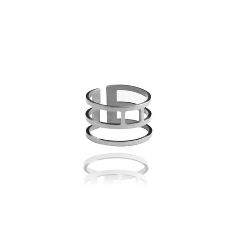 Graphic Ring Triple Silver
