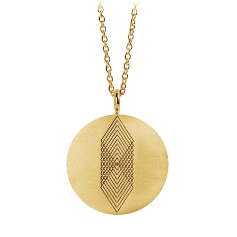 Graphic Necklace Square Gold