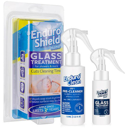 glass treatment, glass cleaner, protect against soap scum, shower glass treatment, EnduroShield, shower treatment, repel soap scum, protect glass against staining, resist stains