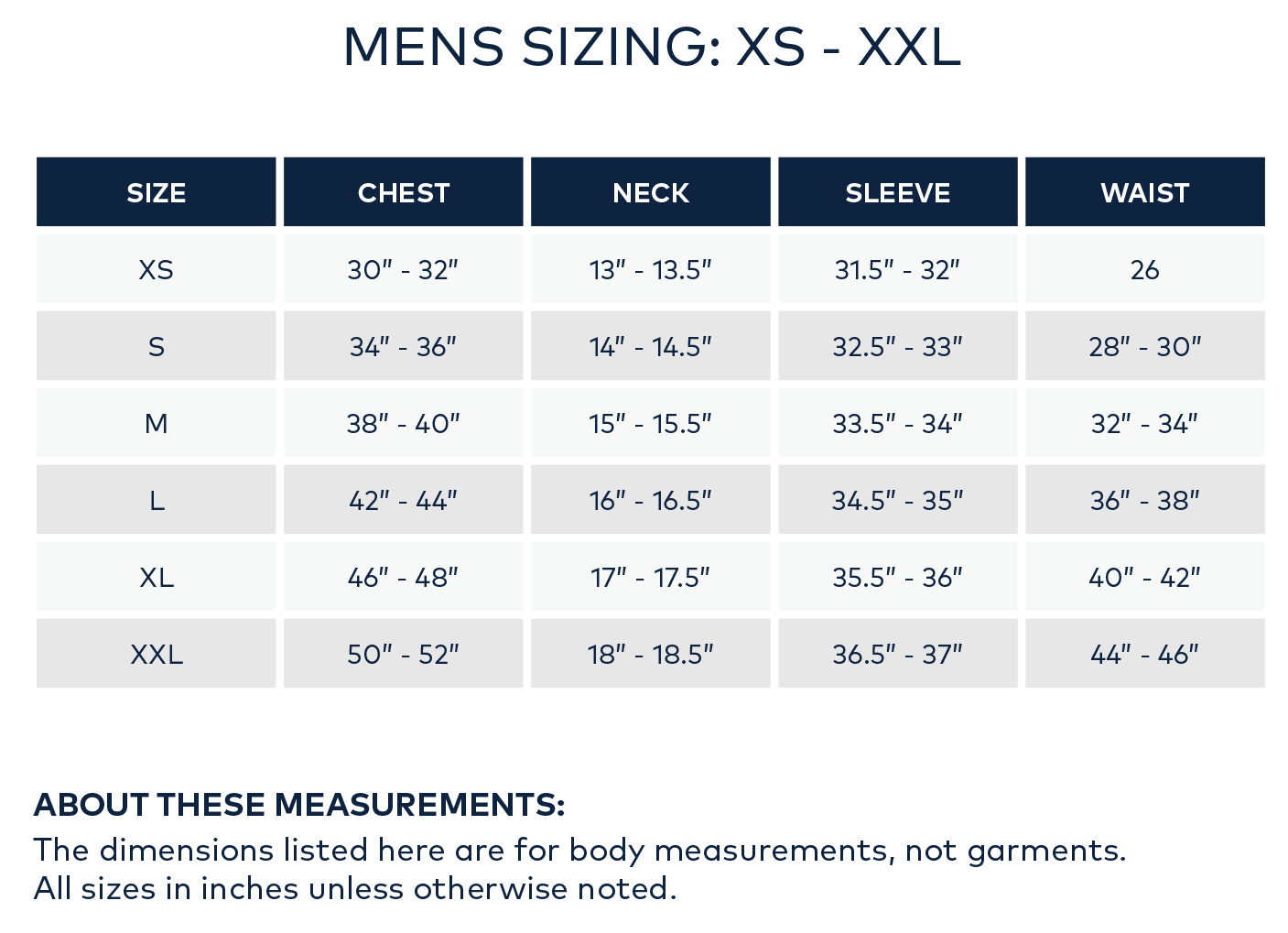 Mens Sizing Chart - Surfside Supply Co.