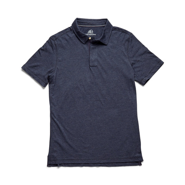 S/S Heathered Polo - Navy Heather