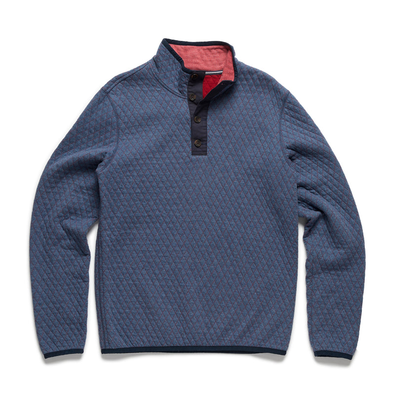 Quilted Fleece Pullover - Navy Heather