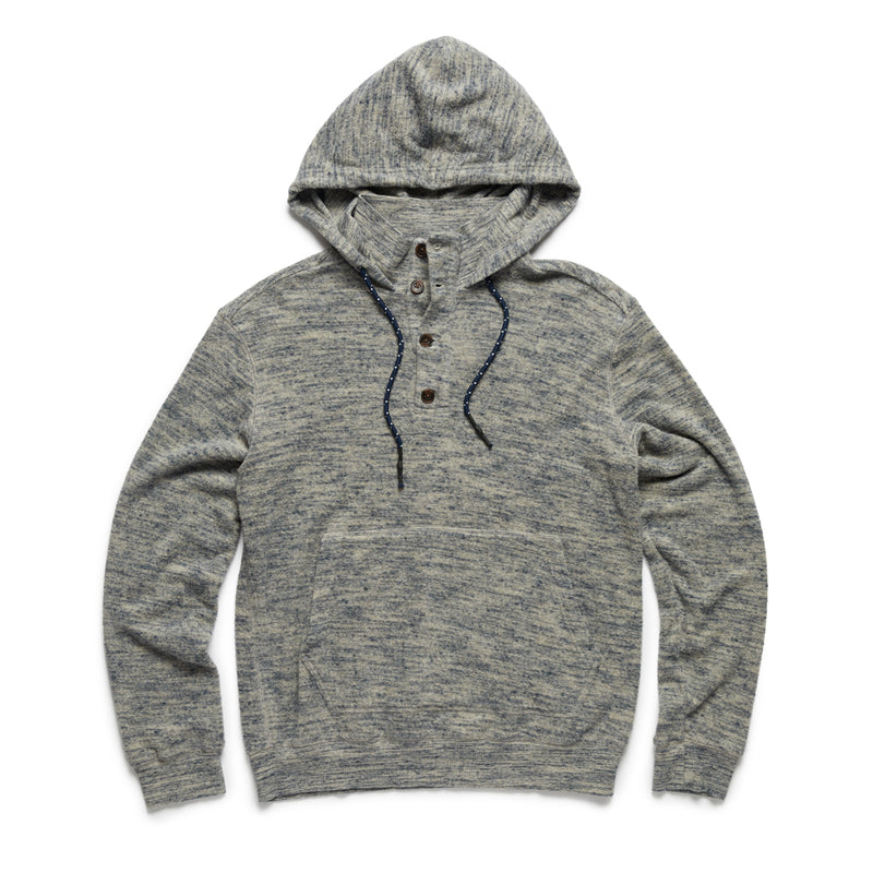 Two-Tone Johnny Collar Hoodie - Navy/Flint Grey